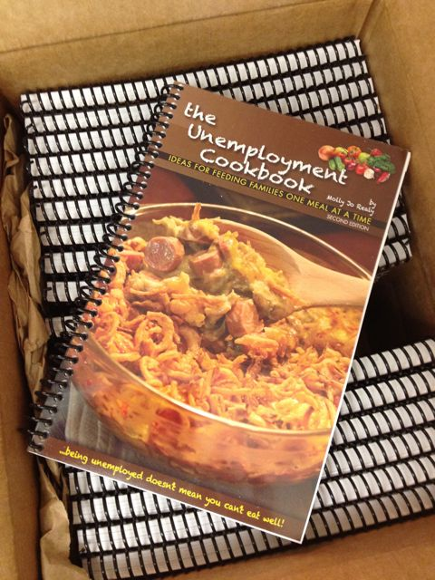 Box of books. The Unemployment Cookbook, Second Edition.